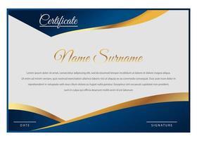 elegante modello di certificato blu e oro vettore
