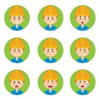 avatar di operai edili con varie espressioni