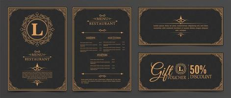 layout del menu con ornamenti