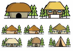 Set di icone baracca minimalista vettore