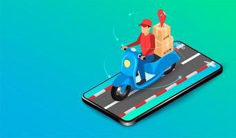 uomo di consegna app mobile su scooter vettore