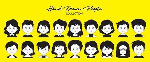 un set di avatar di persone disegnate a mano
