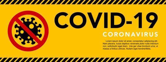 banner in stile nastro attenzione coronavirus vettore
