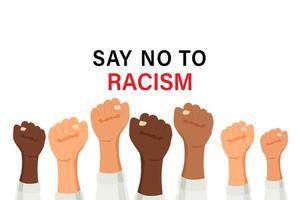 dire di no al poster del razzismo con le braccia alzate multirazziale vettore