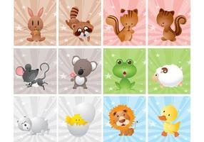 Simpatico cartone animato animale vettore Pack