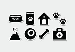Set di icone adesivo cane vettore