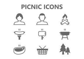 Icone di pic-nic vettore