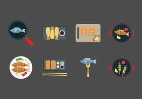 Vettore di piatti di pesce