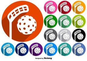 Insieme di vettore dei bottoni con le icone di Floorball