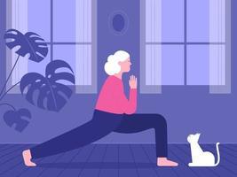 donna anziana che fa yoga wit cat a casa vettore