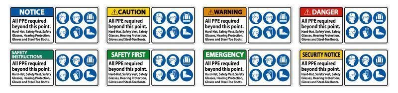 set di segnale di avvertimento vettore