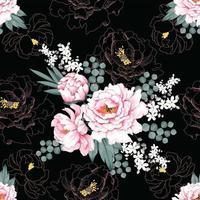 fiori vintage peonia rosa vettore
