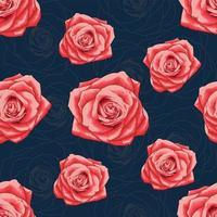 modello senza saldatura bella rosa rossa vettore