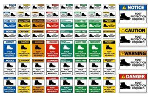 segni di protezione del piede richiesti vettore