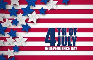 4 luglio banner con strisce e stelle vettore