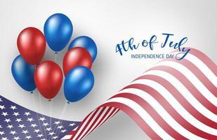 4 luglio poster con sventolando bandiera americana e palloncini vettore