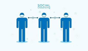 poster sociale di distanza con uomini che indossano maschere