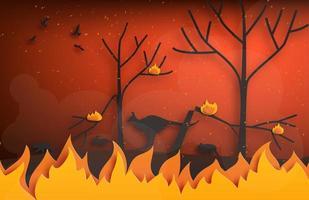 incendi boschivi in stile arte cartacea con animali in fuga vettore