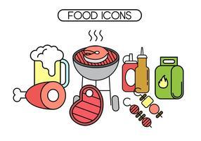 Icone vettoriali gratis brochette e barbecue