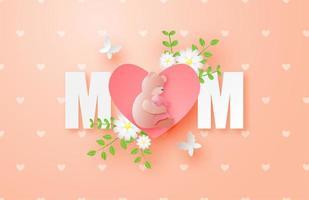 festa della mamma poster con coniglietto abbracciando orso nel cuore