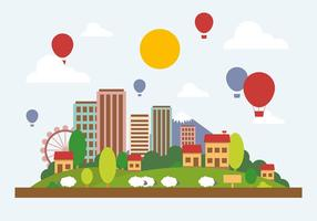 Illustrazione piana di vettore del paesaggio della città