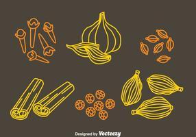 Vettore delle icone di tiraggio della mano delle spezie e delle erbe