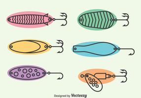 Set di icone di richiamo di pesca