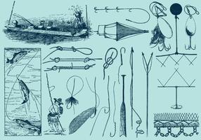 Strumenti e disegni di pesca vettore