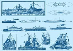 Navy Ships e sottomarini vettore