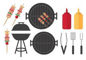 Set per barbecue piatto vettore