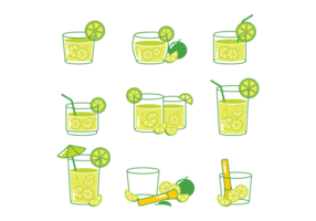 Icone cocktail Caipirinha vettore