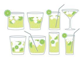 Set di cocktail Caipirinha vettore