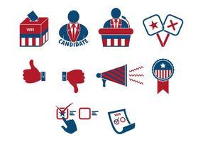 Set di icone elezioni presidenziali vettore