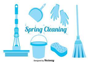 Vettore blu delle icone di pulizia di primavera