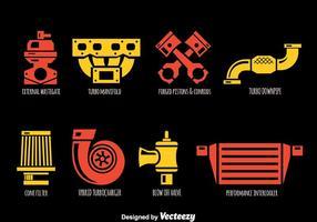 Vettore delle icone delle parti dell'automobile