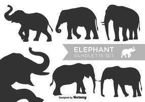 Insieme di vettore delle siluette dell'elefante di vettore