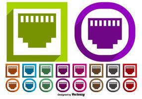 Insieme vettoriale di pulsanti simbolo porta Ethernet