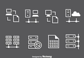 Vettore bianco delle icone del rack del server