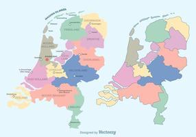 Vettore variopinto olandese della mappa dei Paesi Bassi