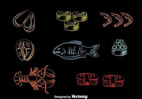 Vettore delle icone di linea dei frutti di mare
