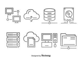 Vettore delle icone di computazione della nuvola