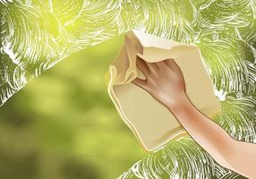 Vettore di finestra di pulizia di primavera
