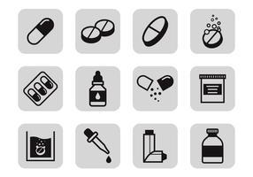 Vettore delle icone della medicina e delle droghe
