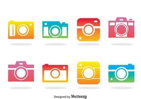 Vettore di icone colorate fotocamera