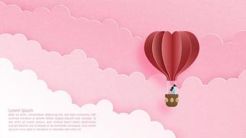 concetto di San Valentino con l'aerostato di aria calda