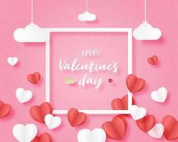 banner di San Valentino a forma di cuore galleggiante sul rosa vettore