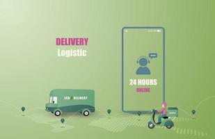 servizio di consegna online furgone di consegna e guida di moto vettore