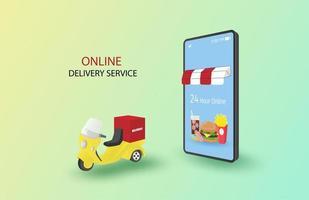 concetto di servizio di consegna online 24 ore vettore