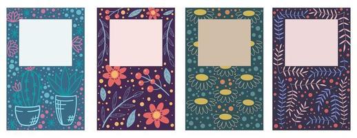 disegno di copertina con set di motivi floreali vettore