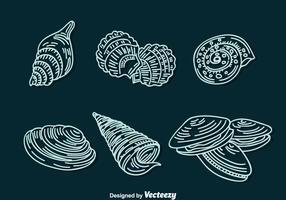 vettore di icone di linea di shell